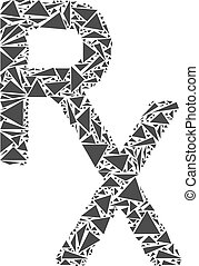 Rx Medical Symbol Mosaic of Triangles - Rx medical symbol...