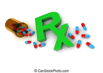 Rx Medication illustration isolated on white background