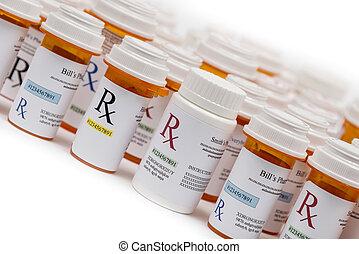rx, medicina de prescripción, botellas