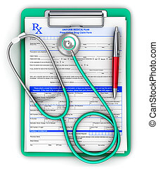 RX prescription pad, medical stethoscope and ballpoint pen