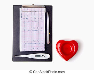 RX prescription, Red heart, medical thermometer on white background