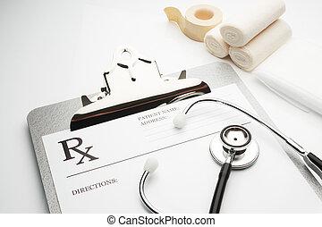 rx, prescription, sur, presse-papiers, à, stéthoscope