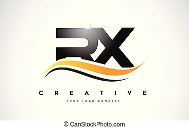 RX R X Swoosh Letter Logo Design with Modern Yellow Swoosh...
