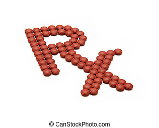 RX pharmacy symbol made out of red pills over white