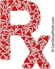 Rx Symbol Mosaic of Triangles - Rx symbol collage of...