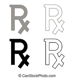 Rx symbol prescription icon set grey black color outline