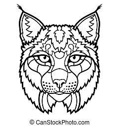 ryś, wildcat, odizolowany, kreska, maskotka, rys, sztuka, głowa