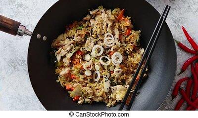 ryż, kurczak, zachwycający, smażył, wok