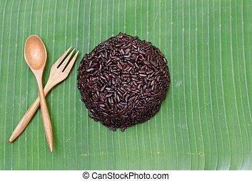 ryż, liść, jagoda, tło, banan