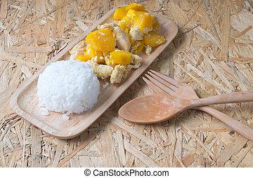 ryż, zdrowy, -, jadło, dosmażane jajko, dynia