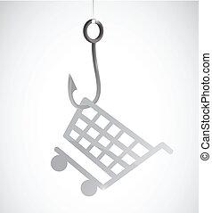 rybaření, jeden, nakupování, cart., prodávat v malém, pojem