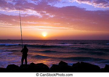 rybaření, východ slunce