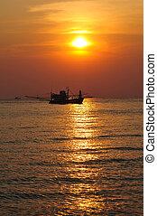 rybacki, łódki, zachód słońca