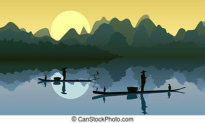 rybak, sun., jezioro, przeciw
