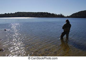 rybak, wędkarski, jezioro