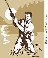 rybak, z, niejaki, mucha, pręt, w, przedimek określony przed rzeczownikami, rzeka