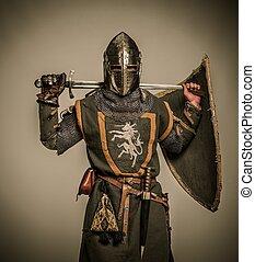 rycerz, średniowieczny, miecz