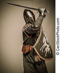 rycerz, średniowieczny, miecz, tarcza