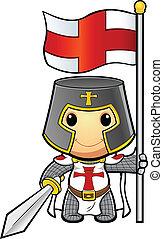 rycerz, dzierżawa bandera, &, miecz