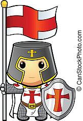 rycerz, dzierżawa bandera, &, tarcza