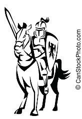 Rycerz, koń, jeździec