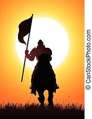 rycerz, na, koń, nośna bandera