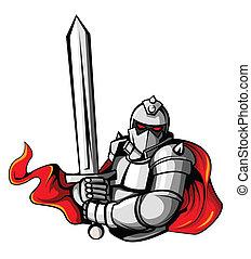 rycerz, wojownik, wektor, ilustracja