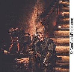 rycerz, zamek, starożytny, średniowieczny, interior.