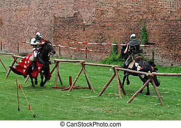 rycerze, średniowieczny, potykanie się