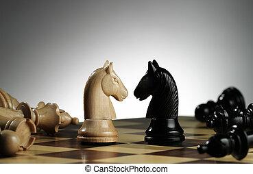 rycerze, biały, czarnoskóry, szachowa deska