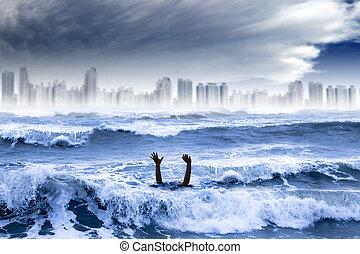 ryczałt dogrzewający, i, ekstremum, pogoda, concept., człowiek, topienie, w wodzie, i, burza, zburzony, miasto