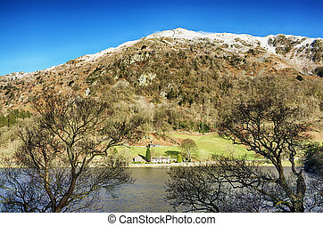 Rydal Water and Nab Scar - View of a snow capped Nab Scar ...
