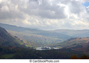 Rydal water from Silver How in the Lake District, England