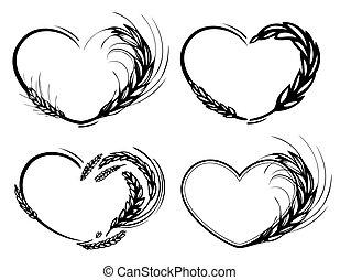 Rye, barley, wheat heart frame. Love organic