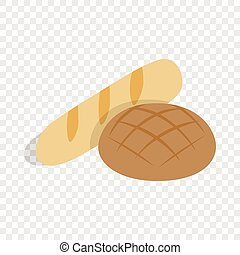 Rye bread and loaf isometric icon