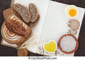 Rye Bread Baking - Rustic rye bread loaf with baking...
