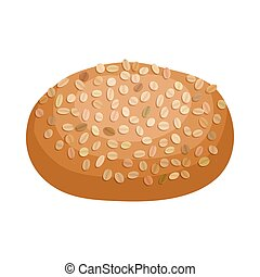 Rye bread icon, cartoon style