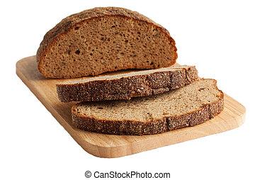 Rye bread on a cutting board