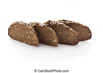 Rye-bread, - Rye bread slice on a white background.