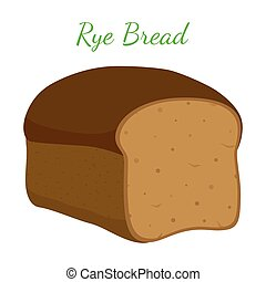 Rye bread, whole grain loaf, bakery, pastry. Cartoon style. Vector