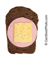 rye bread with salami and cheese on a white background