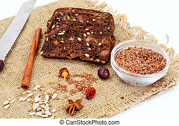 Rye bread with sunflower seeds, sesame seeds, raisins