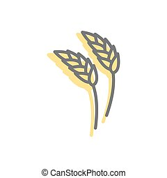 Rye ear line icon. wheat Sign for production of bread and ...