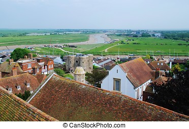 Rye, England - Looking over the rooftops of the historic...