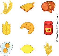 Rye for baking icons set, cartoon style
