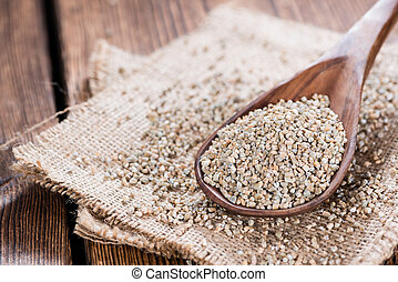 Rye Meal - Portion of Rye Meal (close-up shot) on wooden...