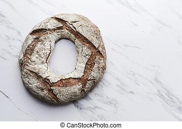 rye round bread top view