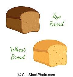 Rye, wheat bread, whole grain loaf, bakery, pastry. Cartoon style. Vector