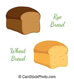 Rye, wheat bread, whole grain loaf, bakery, pastry. Cartoon style. Vector
