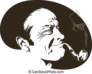 ryger, hos, en, rør